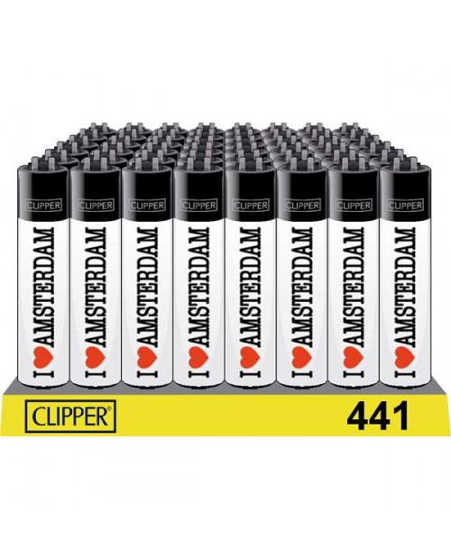 Clipper Lighters -I Love Amsterdam White - Black Top