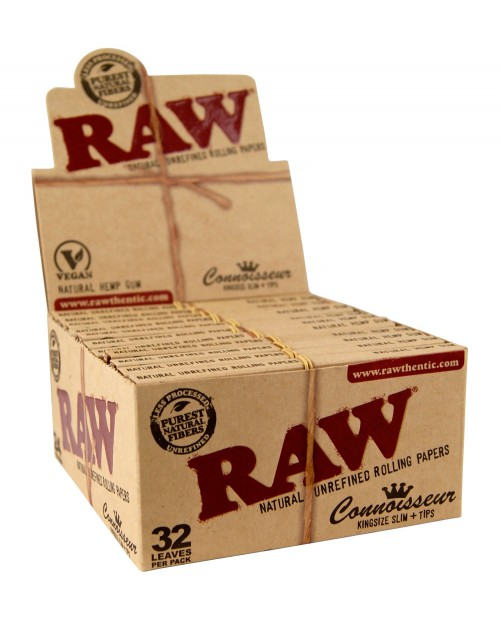Raw Connoisseur KS Slim Rolling Papers + Tips