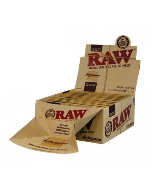 Raw Artesano King Size Rolling Papers, Tips and tray