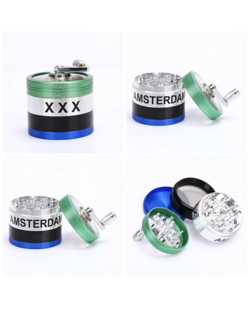 Round Herb Grinder With Crank Handle - 63mm - 4 parts