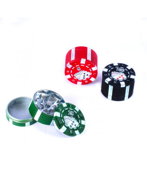 Metal Grinder 42mm 3 Parts Casino Poker Design