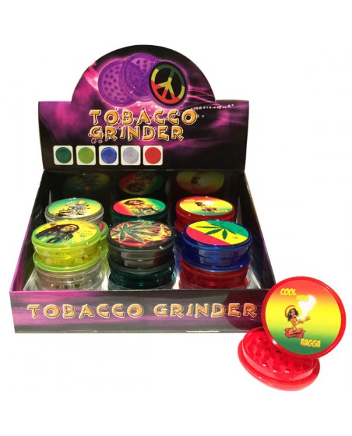 Plastic Grinder with Rasta Sticker -