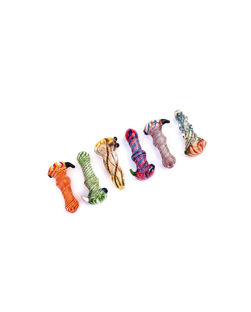 vetro pipe cucchiaio - vari disegni e colori - 8cm